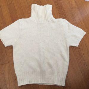 Sweaters - Ivory Cream Short Sleeve Angora Turtleneck Sweater